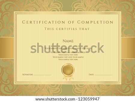 Horizontal green certificate completion template golden stock horizontal green certificate of completion template with golden floral pattern and border this design usable yadclub Gallery