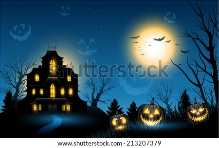 Horizontal Halloween haunted house copyspace background - stock vector