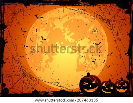Horizontal Halloween night background with Moon, spiders and Jack O' Lanterns, illustration. - stock vector