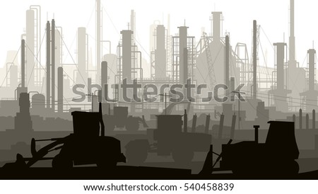 Horizontal illustration industrial area with factories, refineries and power plants.