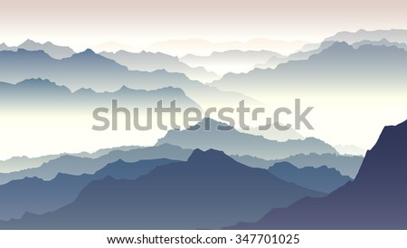 Horizontal illustration morning misty mountains in fog. - stock vector