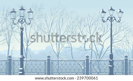 Horizontal illustration of snowy park with trees, lanterns and fence. - stock vector