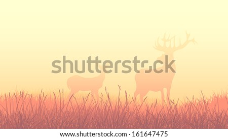 Horizontal landscape illustration of deers on morning misty meadow (orange tone). - stock vector