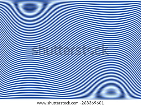 Horizontal lines / stripes pattern or background with wavy, curving distortion effect. Bending, warped lines. Blue version. - stock vector