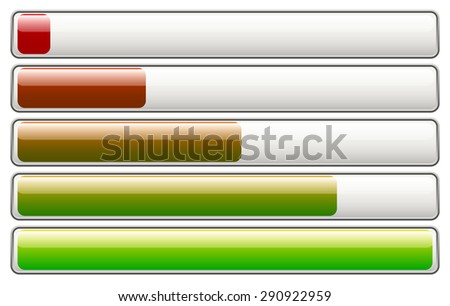 horizontal loading, progress bars, fading colors with 5 stages - stock vector