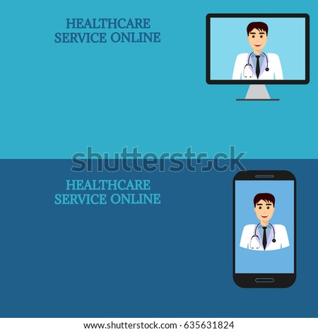 Horizontal Medical Banners Advice Online Telemedicine Doctor On Computer Screen And Smartphone