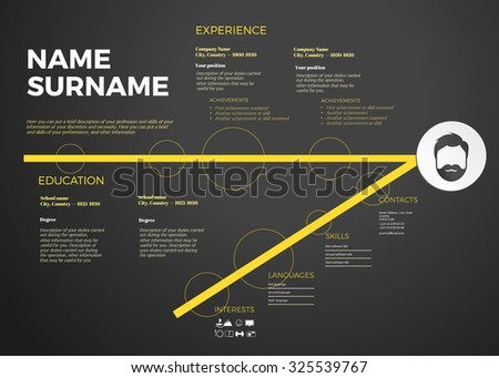 horizontal modern cv resume template with timeline