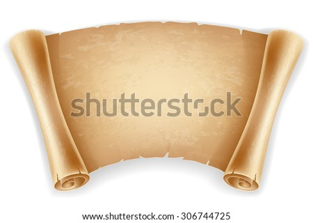 Horizontal old scroll paper with space for your text. Retro styled. Isolated on white background. - stock vector