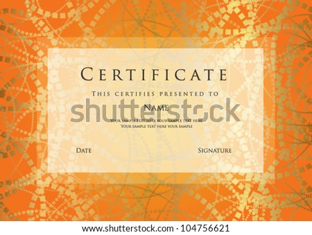 Horizontal orange certificate completion template abstract stock horizontal orange certificate of completion template with abstract pattern and frame this design usable for yadclub Images