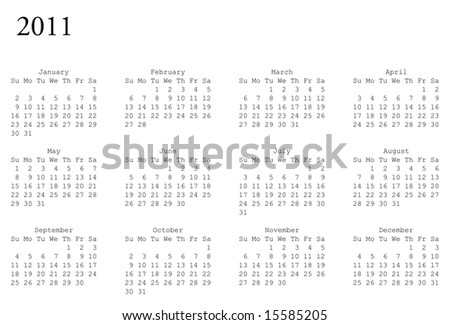 horizontal oriented calendar grid of 2011 year - stock vector