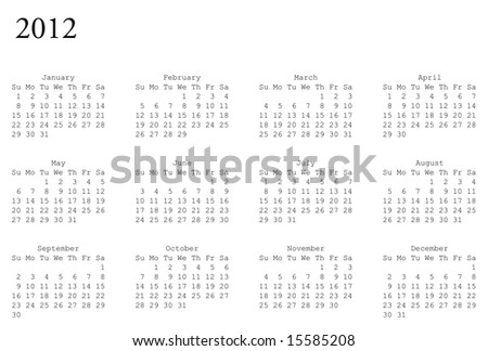 horizontal oriented calendar grid of 2012 year - stock vector