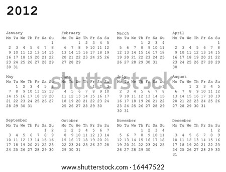 horizontal oriented calendar grid of 2012 year. Monday is first day of week - stock vector