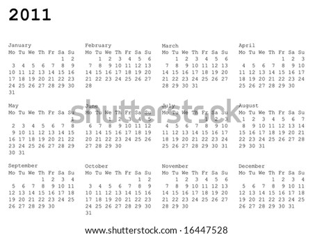 horizontal oriented calendar grid of 2011 year. Monday is first day of week - stock vector