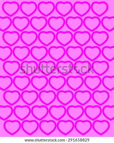 horizontal pink pattern with hearts. Template for your design. With clipping mask