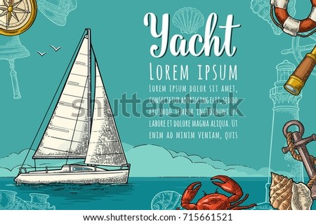 Horizontal poster yacht club text template stock vector 715661521 horizontal poster for yacht club with text template a sailing ship on the blue sea toneelgroepblik Image collections