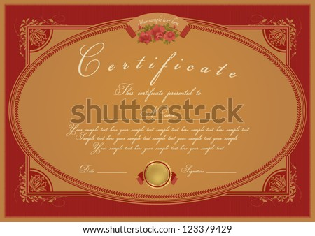 Horizontal red certificate of completion template with beige floral pattern and frame. This design usable for diploma, invitation,  gift voucher, coupon, official, ticket or different awards. Vector