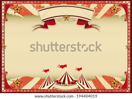 Horizontal red circus retro. A red vintage circus background for a poster - stock vector