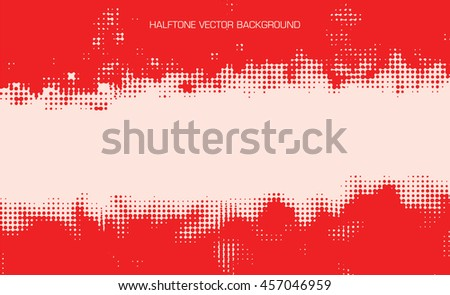 horizontal red color halftone abstract vector background