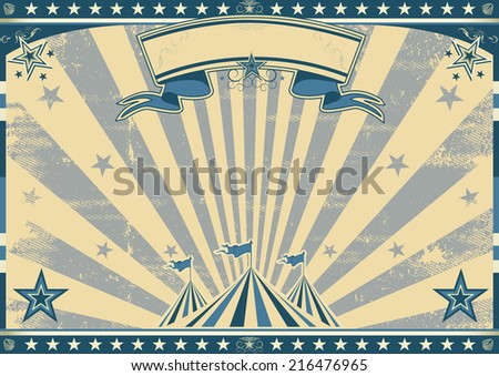 Horizontal retro blue circus. a circus vintage poster for your advertising. Perfect size for a screen.
