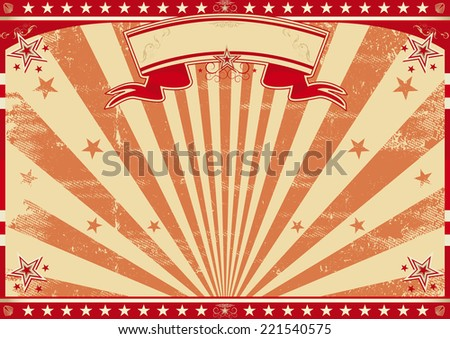 Horizontal retro red sunbeams. A circus vintage poster for your advertising. Perfect size for a screen. - stock vector