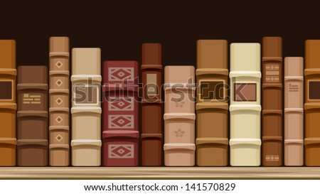 Horizontal seamless background with old books. Vector illustration. - stock vector