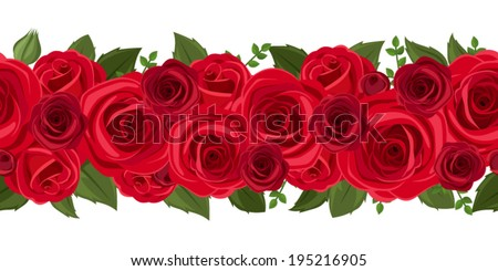 Horizontal seamless background with red roses. Vector illustration. - stock vector