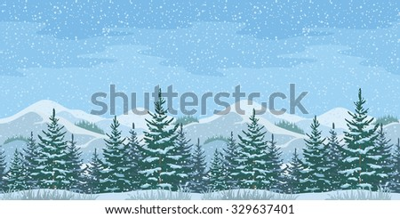 Horizontal Seamless Christmas Winter Mountain Landscape with Firs Trees and Sky with Snow. Vector - stock vector
