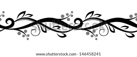 Horizontal seamless floral vignette. Vector illustration. - stock vector