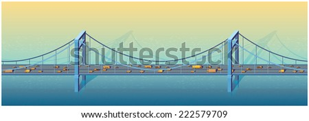 Horizontal seamless illustration of a large bridge on a sunny day with transport - stock vector