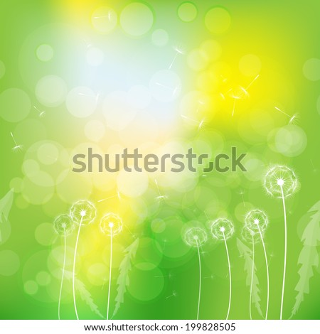 horizontal seamless pattern dandelions on the summer yellow-green background.vector illustration - stock vector