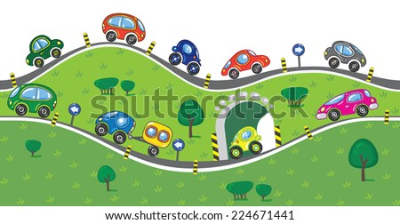 Horizontal seamless pattern with cars, going to the sea, with lifts, slopes and arches