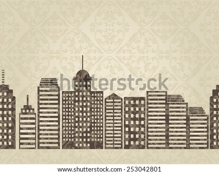 horizontal seamless pattern with street cityscape - stock vector