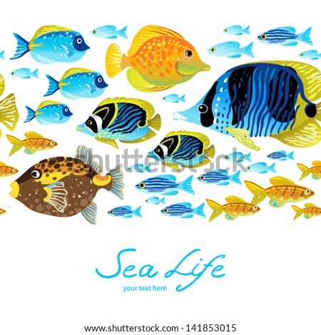 Horizontal seamless sea border. Colorful tropical fish. It can be used for wallpaper, pattern fills, web page background, surface textures, decoration for bags and clothes. - stock vector