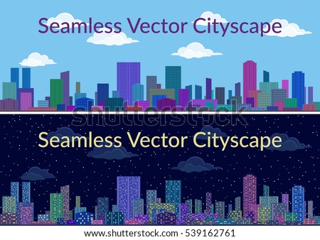 Horizontal Seamless Urban Background, City Landscape, Set of Night and Day Cityscapes with Skyscrapers, Under Blue or Starry Sky with Clouds. Vector