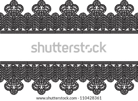 horizontal seamless white background with black vintage crocheted lace frame. - stock vector