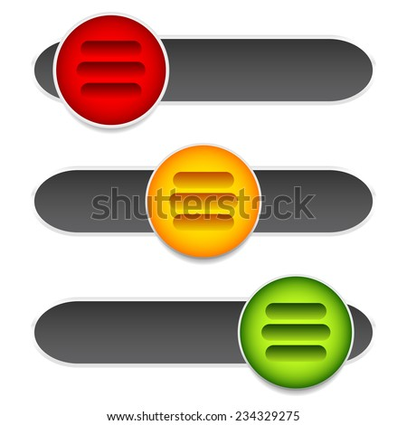 Horizontal sliders, adjust bars, 3 state buttons, levers. - stock vector