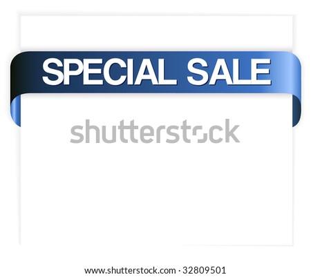 Horizontal special sale blue ribbon - stock vector