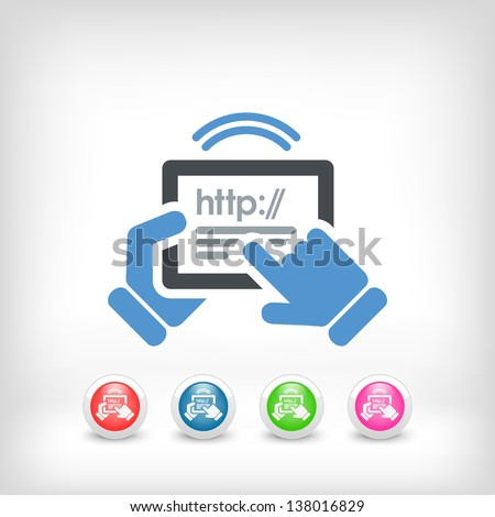 Horizontal tablet connected to internet - stock vector