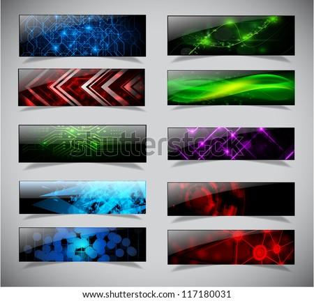 Horizontal techno banners set. Vector illustration. eps10 - stock vector
