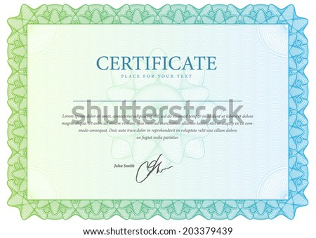 horizontal Template certificate and diplomas, currency. Vector - stock vector