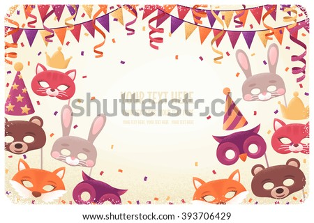 Horizontal template with animal masks, paper streamers, triangular flags and confetti. Retro vector illustration. Invitation, card, poster, flyer, banner. Place for your text. Costume party layout - stock vector
