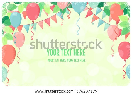 Horizontal template with fresh green spring leaves, multicolored party flags and balloons. Retro vector illustration. Place for your text. Invitation, banner, card, poster, flyer, gift certificate - stock vector