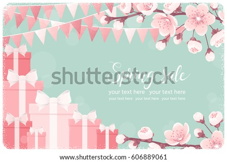Horizontal template with pink gift boxes, cherry blossom, spring flowers, party flags. Retro vector illustration. Spring sale lettering. Invitation, banner, card, poster, flyer, gift certificate