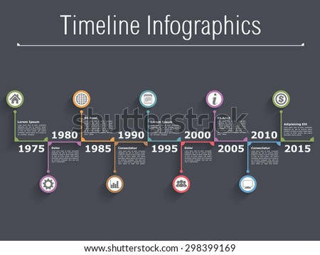 Horizontal timeline infographics with text, dates and icons, dark background, vector eps10 illustration - stock vector
