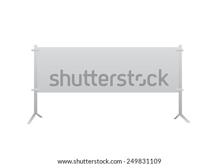 Horizontal vector blank banner standing on floor, background for any message. - stock vector