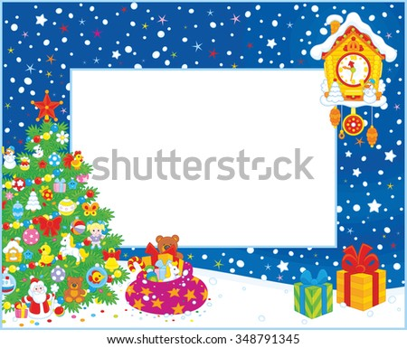 Horizontal vector border with a decorated Christmas tree, a toy cuckoo-clock and gifts - stock vector