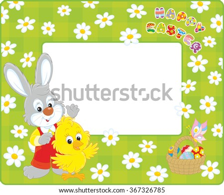 Horizontal vector frame with a little grey rabbit and a yellow chicken waving in greeting, and an Easter basket with colorfully painted eggs - stock vector