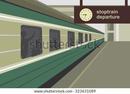 Horizontal vector illustration of a train station platform of the train - stock vector