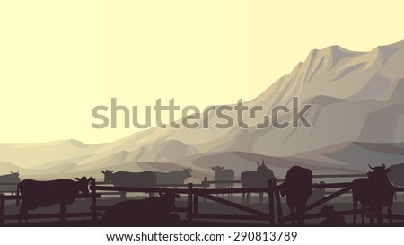 Horizontal vector illustration of mountains and grazing cows in fence. - stock vector