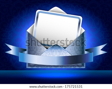 Horizontal vector illustration. Patterned silver paper envelope with a postcard and ribbons on black and blue background with patterns. Holiday vip invitation.  - stock vector